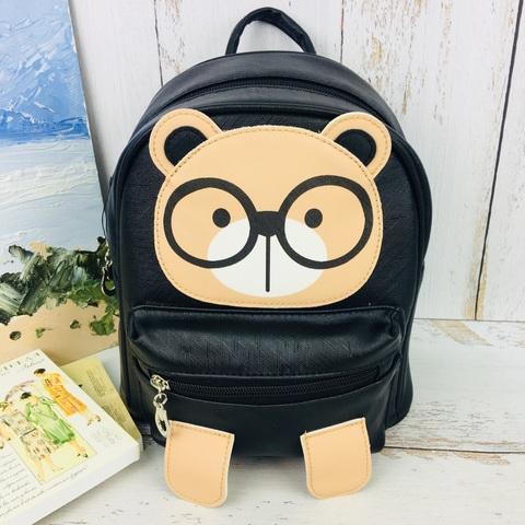Детский милый рюкзачок для девочки Мишка с ушами и лапками в очках Отличник