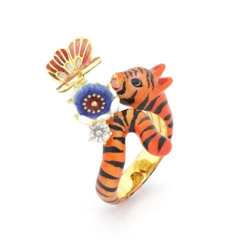 Кольцо Восточный романс (тигр и бабочка)