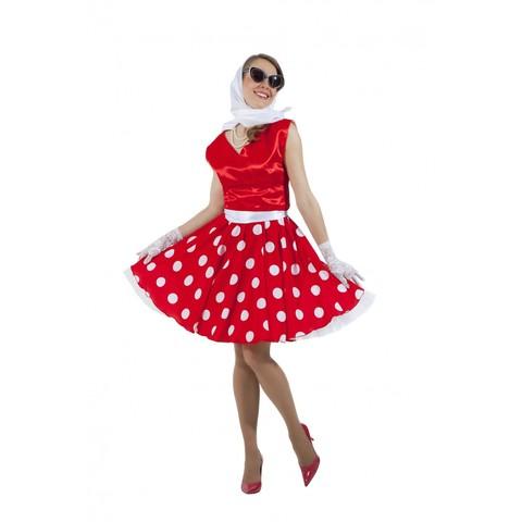 Платье в стиле 50-х с белым верхом юбкой в горох
