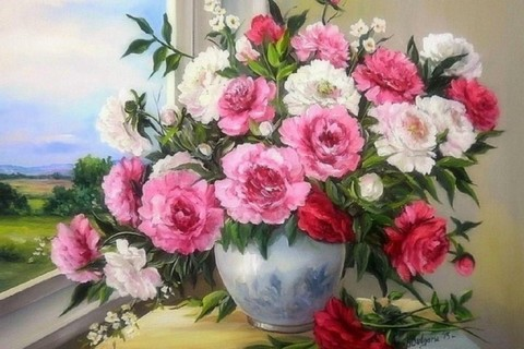 Картина раскраска по номерам 40x50 Букет в вазе на окне (Без подрамника)