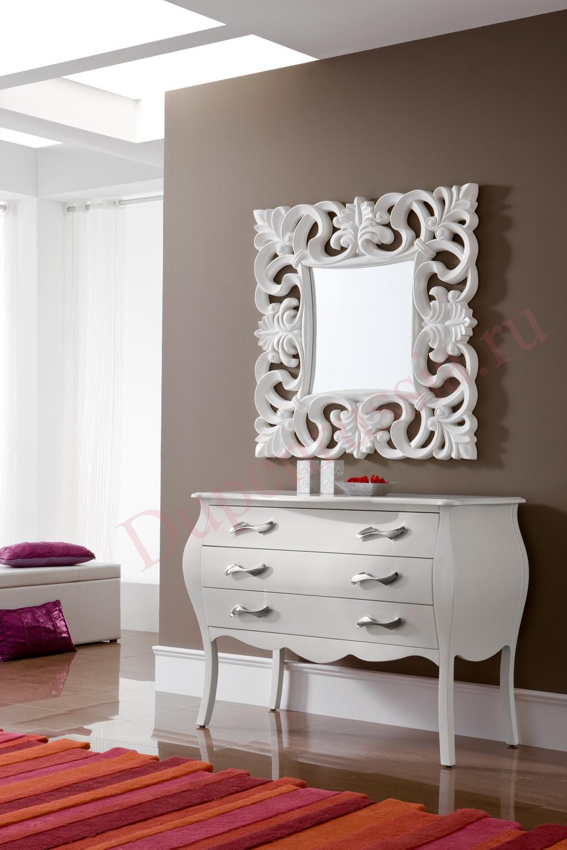 Зеркало DUPEN PU021 белое, Комод горизонтальный DUPEN С-95 белый