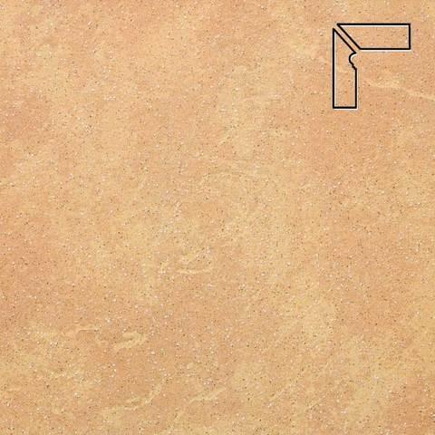 Stroeher - Keraplatte Roccia 834 giallo длина стороны угла 290 артикул 9117 - Плинтус клинкерной ступени левый