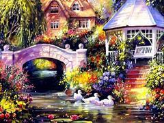 Беседка у реки - раскраски по номерам на картоне
