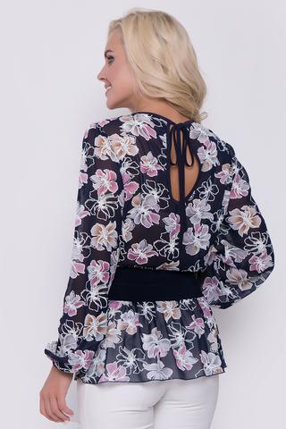 Очень комфортная и невесомая блузка очарует Вас с первого взгляда. Рукав длинный на резинке. Талия из мягкого трикотажа. По спинке соблазнительный бантик.