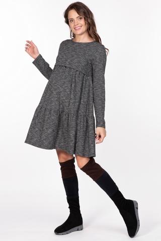 Платье для беременных и кормящих 10100 серо-черный