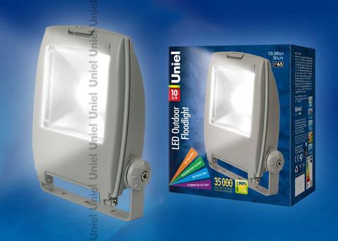 ULF-S02-10W/DW IP65 110-240В Прожектор светодиодный. Корпус серый. Цвет свечения дневной. Степень защиты IP65. Картонная упаковка