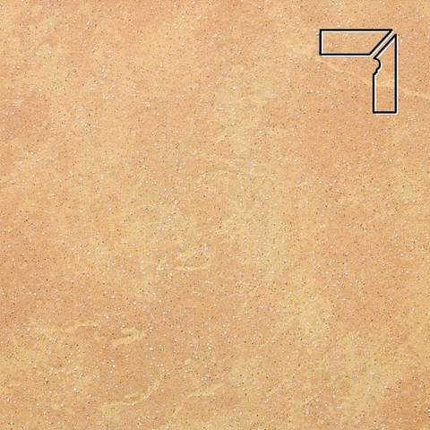 Stroeher - Keraplatte Roccia 834 giallo длина стороны угла 290 артикул 9118 - Плинтус клинкерной ступени правый