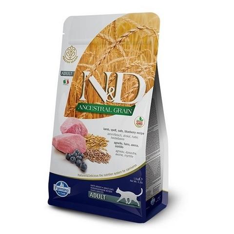 10 кг. FARMINA N&D LG Сухой низкозерновой корм для взрослых кошек с ягненком, черникой, спельтой и овсом Adult Cat Lamb&Blueberry