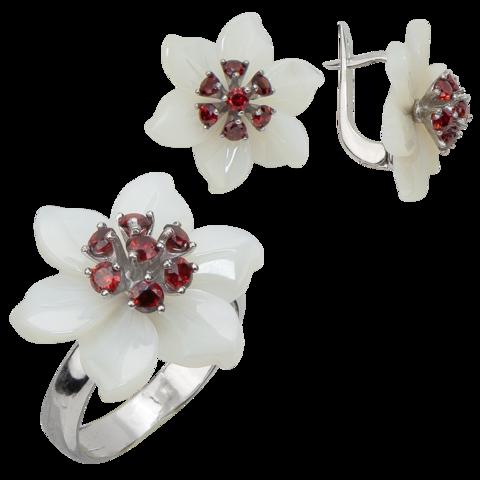 Комплект украшений с цветами из белого перламутра и гранатом № БА1