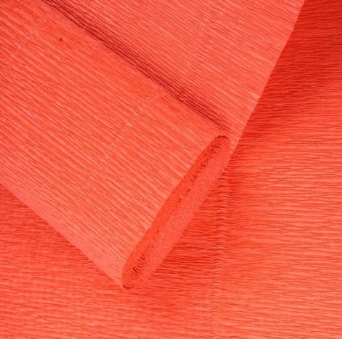 Бумага гофрированная, цвет 17Е/6 ярко-оранжевый, 180г, 50х250 см, Cartotecnica Rossi (Италия)