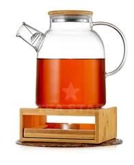 Чайник с подогревом от свечи (стеклянный) на бамбуковой подставке 1,5 литра