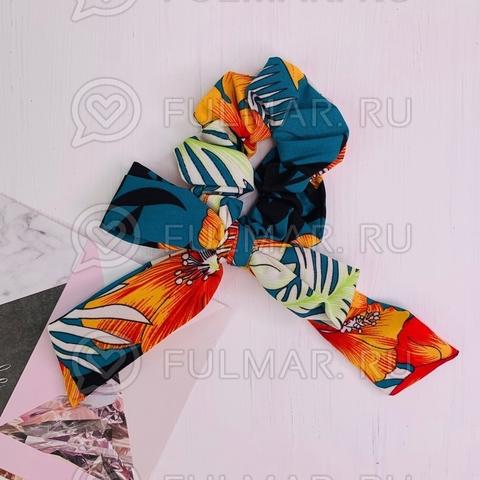 Резинка для волос с бантом рисунок Тропики (цвет: Бирюзовый-Оранжевый)