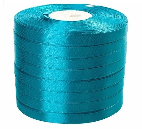 Лента атласная (размер: 10 мм х 50 ярд) Цвет: бирюзово-синяя