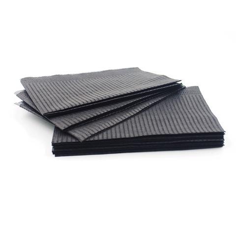 Стоматологические ламинированные салфетки чёрные (бумага + полиэтилен) 125шт.