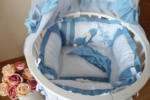 Комплект в круглую/овальную кроватки Сказка, голубой