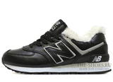 Кроссовки Женские New Balance 574 Black White Leather Winter Edition С Мехом
