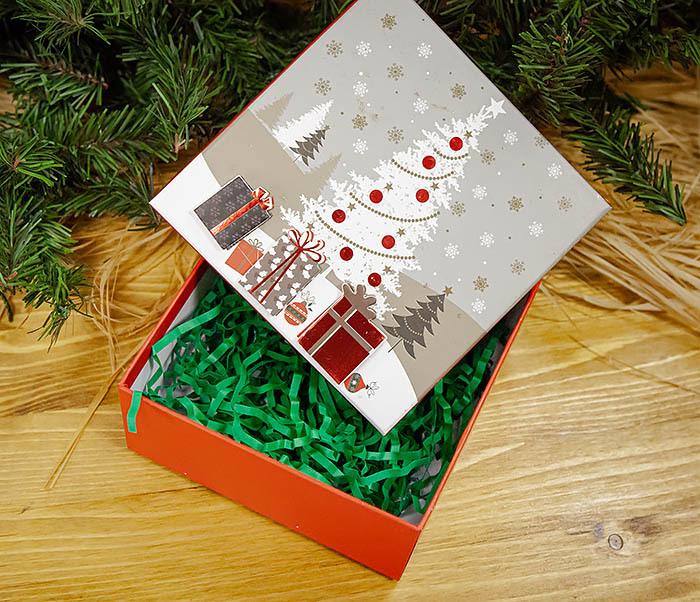 BOX262-3 Новогодняя коробка «Подарки под елкой» (20*20*9 см) фото 06