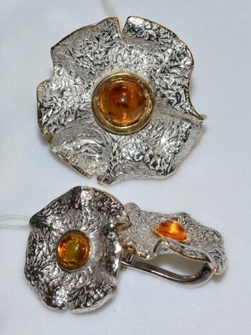 Палава  (кольцо + серьги из серебра)