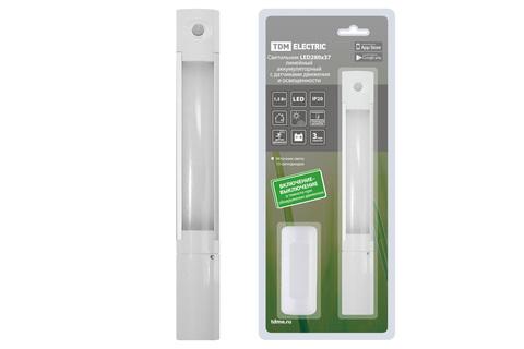 Светильник LED280х37 линейный, 1,3 Вт, акк.Li-Pol 900 mAh, датчик движ. и освещ, USB, TDM