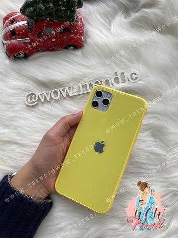 Чехол iPhone 11 Pro Glass Pastel color Logo /yellow/