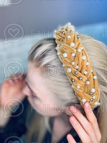 Широкий бархатный ободок для волос на голову с искусственным жемчугом Жёлтый