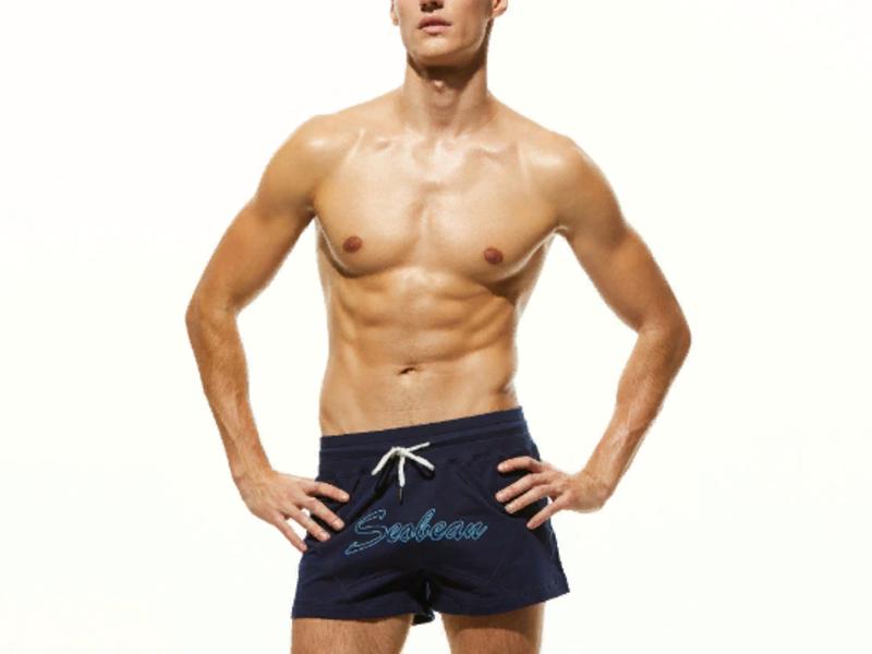 Мужские пляжные шорты т-синие с надписью SEOBEAN