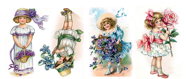 Водорастворимая бумага Девочки с цветами
