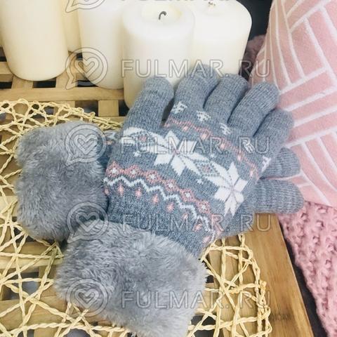 Перчатки со снежинками шерстяные женские (цвет: серый)