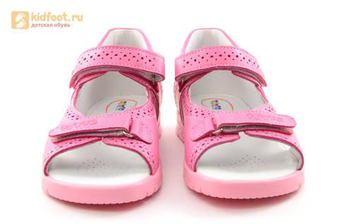 Босоножки для девочек из натуральной кожи с открытым носом на липучках Тотто, цвет розовый. Изображение 4 из 14.