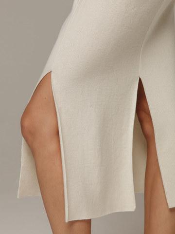 Женская белая юбка с разрезами из шерсти и кашемира - фото 4