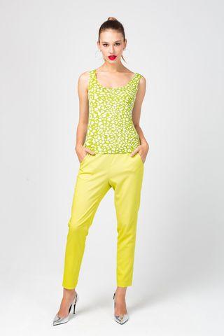 Фото укороченные брюки желтого цвета с преобладанием вискозы - Брюки А487-193 (1)
