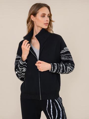 Женский жакет черного цвета из шерсти и кашемира - фото 2