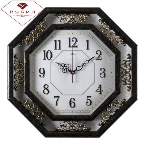 5045-103 (5) Часы настенные восьмиугольные 45х45см, корпус черный с золотом