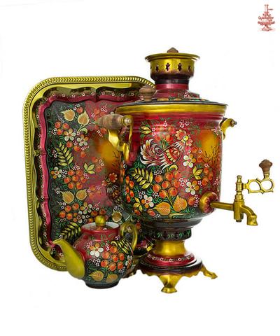 Самовар дровяной в росписи «Летнее утро» формой банка 7л в наборе с подносом и чайником