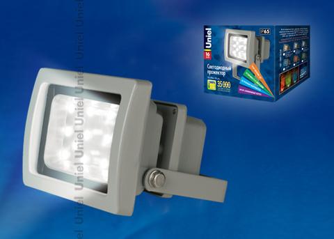 ULF-S03-16W/DW IP65 110-240В Прожектор светодиодный. Корпус серый. Цвет свечения дневной. Степень защиты IP65. Картонная упаковка