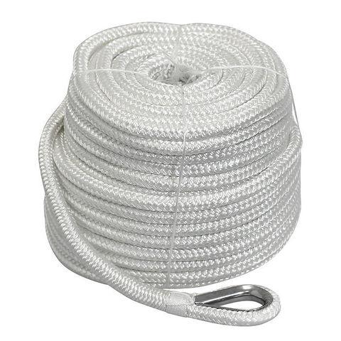 Трос якорный плетеный Ø16 мм/ 45 м с коушем, белый