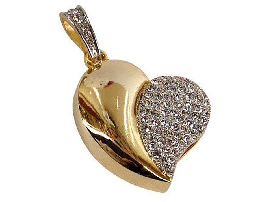 usb-флешка сердце золотое