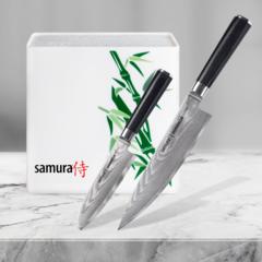 Набор из 2 кухонных ножей Samura Damascus и подставки KBH-101BW