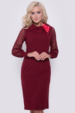"""В этом очаровательном платье Вы будете чувствовать себя королевой!  Приталенный силуэт, рукав длинный с манжетом из сетки - стрейч. Ворот """"хомут"""". (Цветок в стоимость не водит, приобрести можно в разделе """"Аксессуары"""") Длина платья: 100 см"""