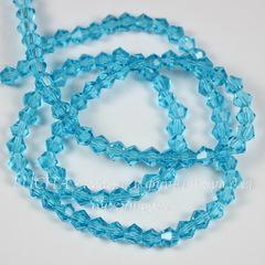 Бусина стеклянная, биконус, цвет - светло-голубой, 4 мм, нить