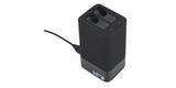 Зарядное устройство для двух аккумуляторных батарей GoPro MAX Dual Battery Charger + Battery ACDBD-001-EU подключен с аккумуляторами