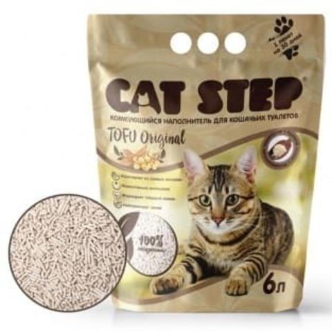 купить кет степ кэт стэп Cat Step Tofu Original 6л наполнитель растительный, комкующийся 6 литров 2.8 кг