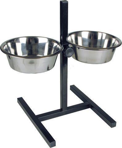 Подставка для кормления животных с двумя мисками из нержавеющей стали 1,75 л