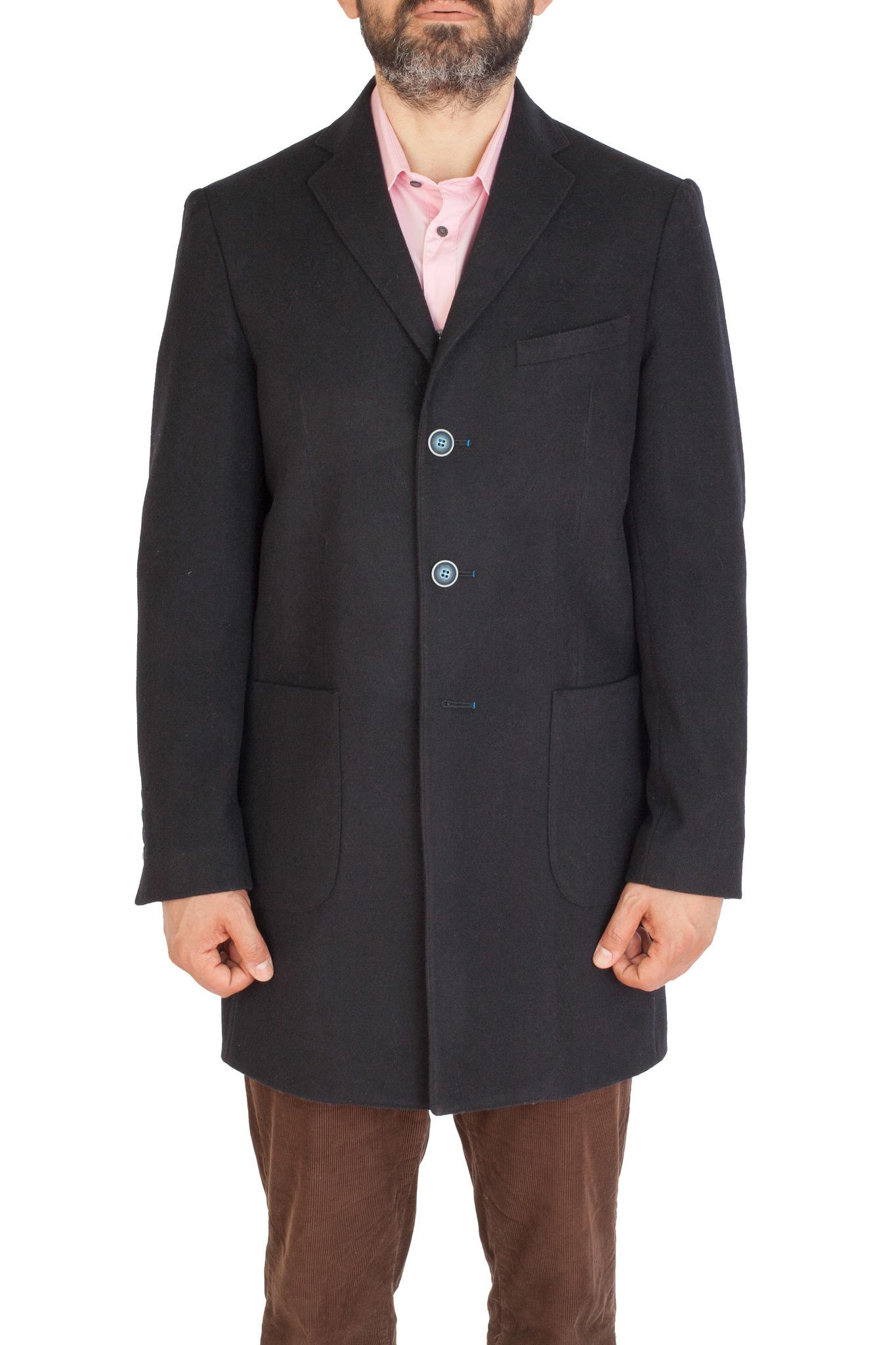 Тёмно-синее пальто узкого кроя из шерсти и кашемира