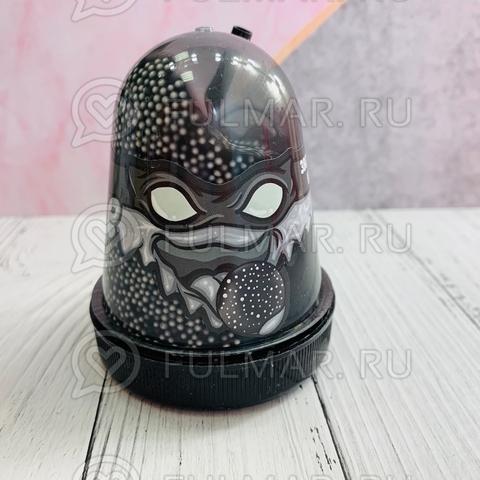 Слайм-лизун Slime Ninja надувающийся, с трубочкой, цвет: Чёрный с белыми шариками,