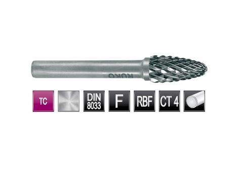 Бор-фреза твердосплавная F(RBF) 8,0х18x6x60мм HM Ruko 116031