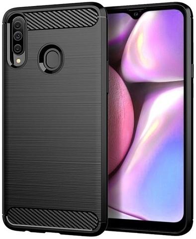Чехол Samsung Galaxy A20S цвет Black (черный), серия Carbon, Caseport
