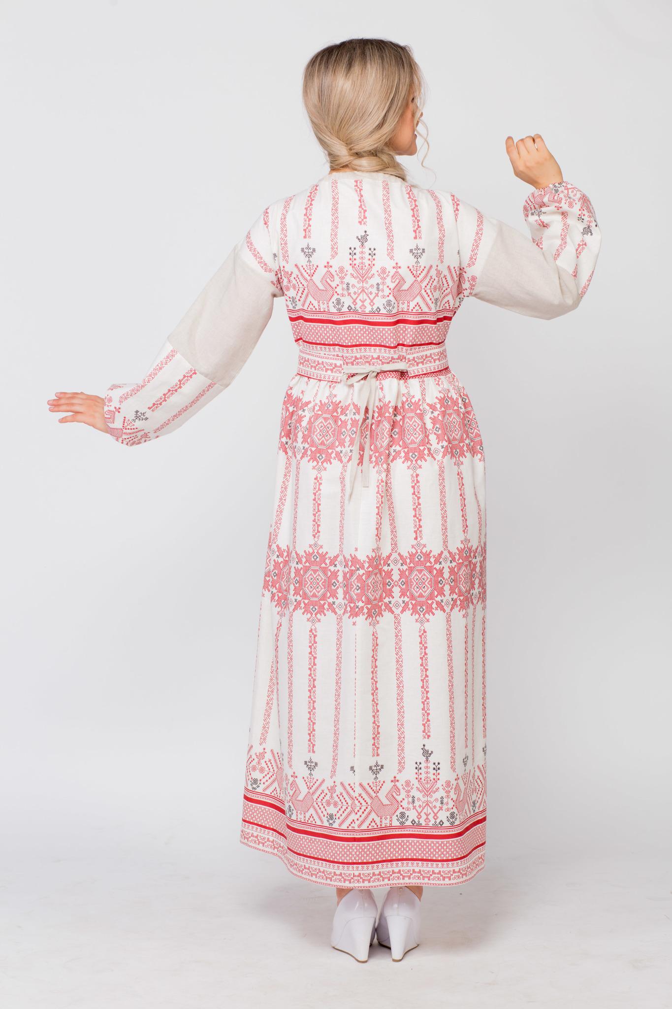 Платье льняное Земледелие вид сзади