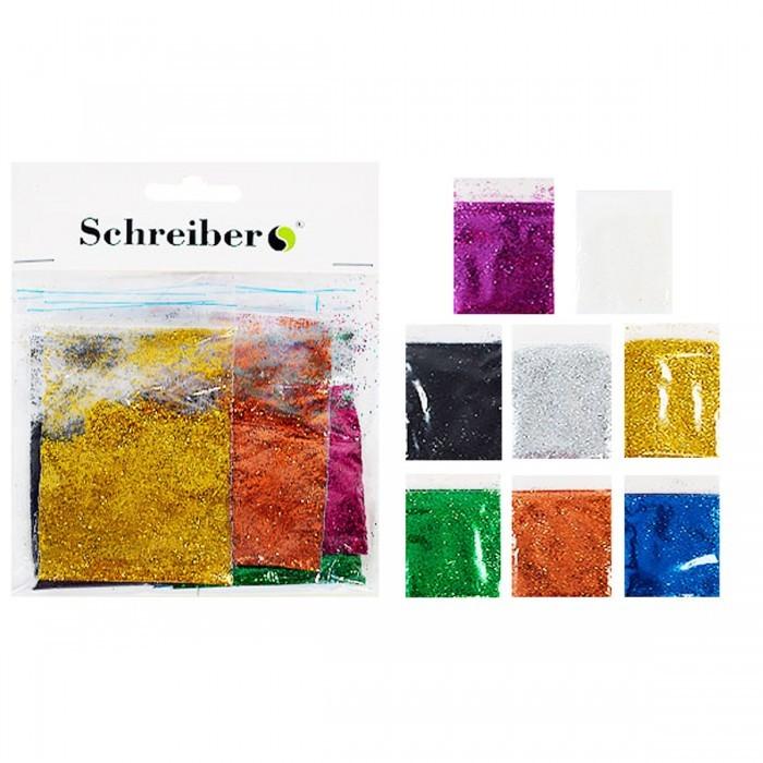 Набор цветных блесток в пакетиках по 5г., 8цв. Производство Россия