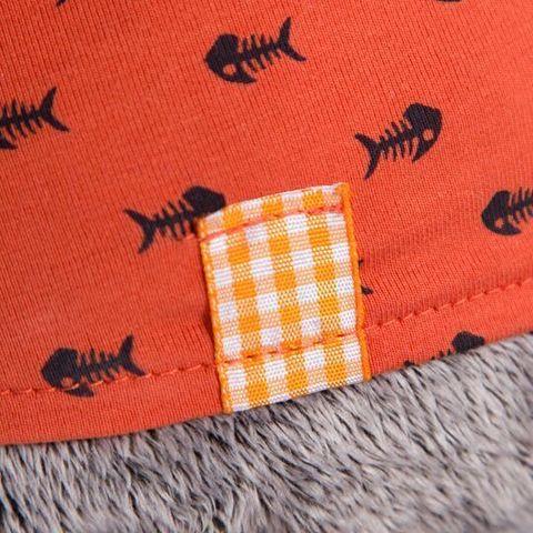 Кот Басик в оранжевой футболке в рыбки с львенком